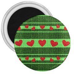 Fabric Christmas Hearts Texture 3  Magnets