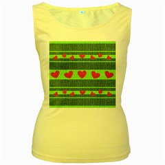 Fabric Christmas Hearts Texture Women s Yellow Tank Top