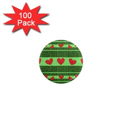 Fabric Christmas Hearts Texture 1  Mini Magnets (100 pack)
