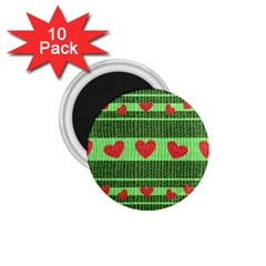 Fabric Christmas Hearts Texture 1 75  Magnets (10 Pack)