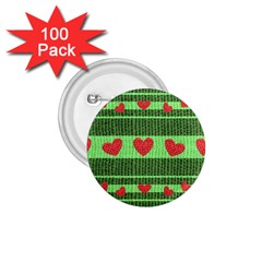 Fabric Christmas Hearts Texture 1.75  Buttons (100 pack)