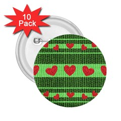 Fabric Christmas Hearts Texture 2.25  Buttons (10 pack)