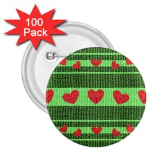Fabric Christmas Hearts Texture 2.25  Buttons (100 pack)