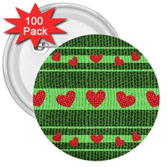 Fabric Christmas Hearts Texture 3  Buttons (100 Pack)