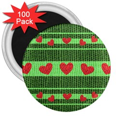 Fabric Christmas Hearts Texture 3  Magnets (100 Pack)