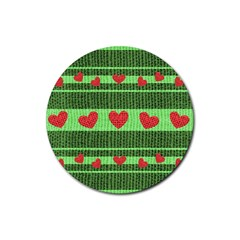 Fabric Christmas Hearts Texture Rubber Round Coaster (4 pack)