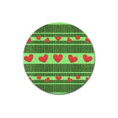 Fabric Christmas Hearts Texture Magnet 3  (round)