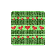 Fabric Christmas Hearts Texture Square Magnet