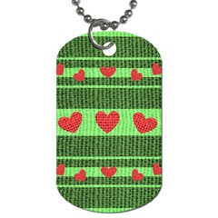 Fabric Christmas Hearts Texture Dog Tag (Two Sides)