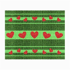 Fabric Christmas Hearts Texture Small Glasses Cloth
