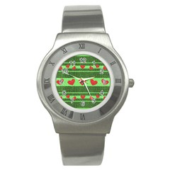 Fabric Christmas Hearts Texture Stainless Steel Watch