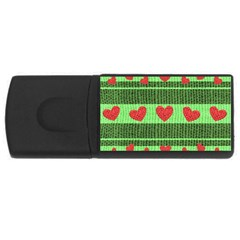 Fabric Christmas Hearts Texture USB Flash Drive Rectangular (4 GB)