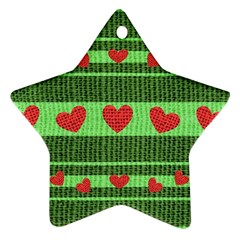 Fabric Christmas Hearts Texture Star Ornament (Two Sides)