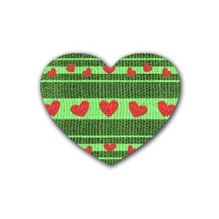 Fabric Christmas Hearts Texture Rubber Coaster (Heart)