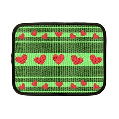 Fabric Christmas Hearts Texture Netbook Case (small)