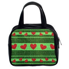 Fabric Christmas Hearts Texture Classic Handbags (2 Sides)