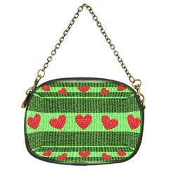 Fabric Christmas Hearts Texture Chain Purses (One Side)