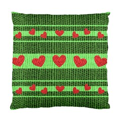 Fabric Christmas Hearts Texture Standard Cushion Case (one Side)
