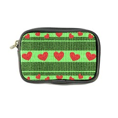 Fabric Christmas Hearts Texture Coin Purse
