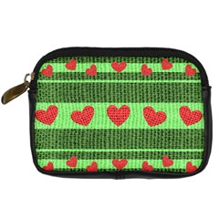 Fabric Christmas Hearts Texture Digital Camera Cases