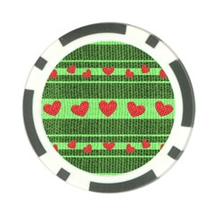 Fabric Christmas Hearts Texture Poker Chip Card Guard (10 pack)
