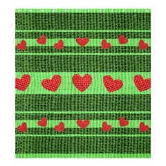 Fabric Christmas Hearts Texture Shower Curtain 66  x 72  (Large)