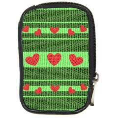 Fabric Christmas Hearts Texture Compact Camera Cases