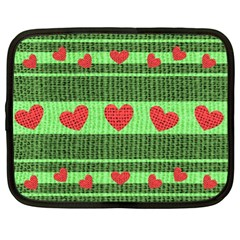 Fabric Christmas Hearts Texture Netbook Case (XL)