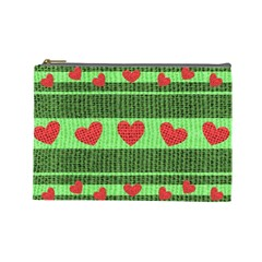 Fabric Christmas Hearts Texture Cosmetic Bag (Large)