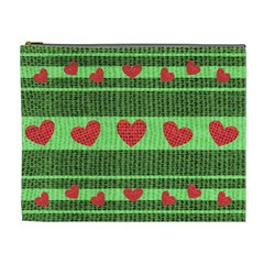Fabric Christmas Hearts Texture Cosmetic Bag (XL)