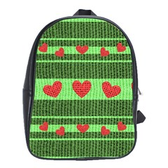 Fabric Christmas Hearts Texture School Bags(Large)