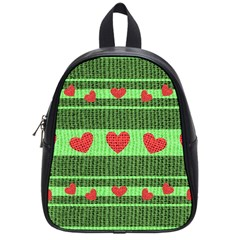 Fabric Christmas Hearts Texture School Bags (Small)