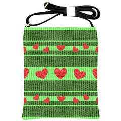 Fabric Christmas Hearts Texture Shoulder Sling Bags