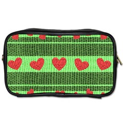 Fabric Christmas Hearts Texture Toiletries Bags 2-Side
