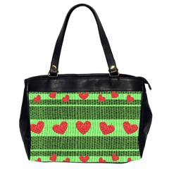 Fabric Christmas Hearts Texture Office Handbags (2 Sides)