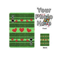 Fabric Christmas Hearts Texture Playing Cards 54 (Mini)