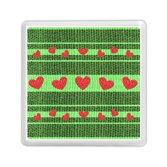 Fabric Christmas Hearts Texture Memory Card Reader (Square)