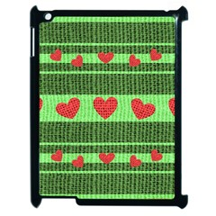 Fabric Christmas Hearts Texture Apple iPad 2 Case (Black)