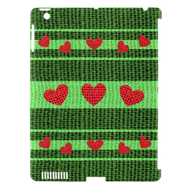 Fabric Christmas Hearts Texture Apple iPad 3/4 Hardshell Case (Compatible with Smart Cover)