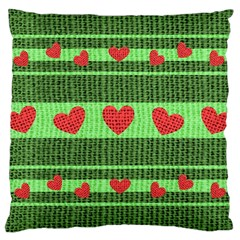 Fabric Christmas Hearts Texture Large Cushion Case (two Sides)