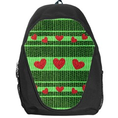 Fabric Christmas Hearts Texture Backpack Bag