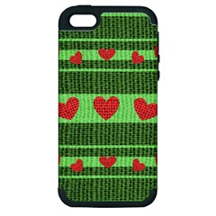 Fabric Christmas Hearts Texture Apple iPhone 5 Hardshell Case (PC+Silicone)