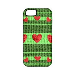 Fabric Christmas Hearts Texture Apple iPhone 5 Classic Hardshell Case (PC+Silicone)