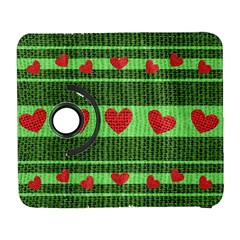 Fabric Christmas Hearts Texture Galaxy S3 (Flip/Folio)
