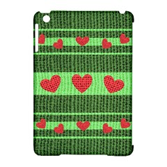 Fabric Christmas Hearts Texture Apple Ipad Mini Hardshell Case (compatible With Smart Cover)