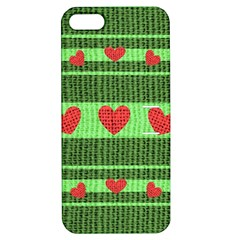 Fabric Christmas Hearts Texture Apple iPhone 5 Hardshell Case with Stand