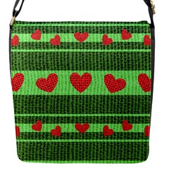 Fabric Christmas Hearts Texture Flap Messenger Bag (s)
