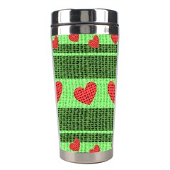 Fabric Christmas Hearts Texture Stainless Steel Travel Tumblers