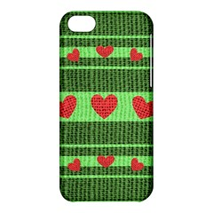 Fabric Christmas Hearts Texture Apple iPhone 5C Hardshell Case
