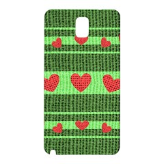 Fabric Christmas Hearts Texture Samsung Galaxy Note 3 N9005 Hardshell Back Case